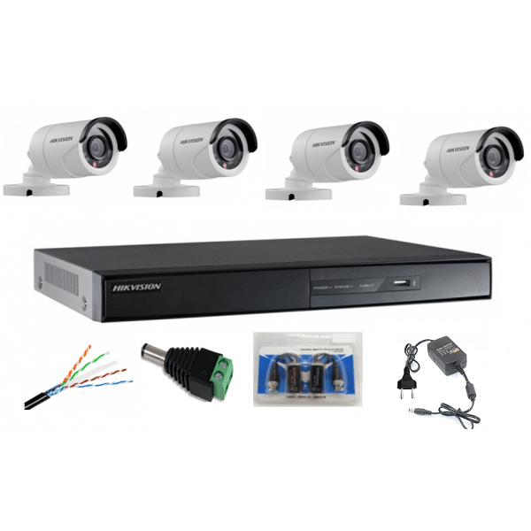 Sistem Supraveghere profesional  Hikvision  4 Camere Exterior Turbo HD IR 20m
